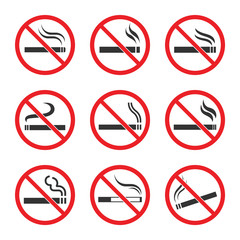 No smoking sign set on white background