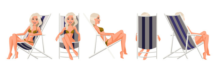 Vector illustration of women in underwear in chaise lounge. Cartoon realistic people. Flat young woman. Front view girl, Side view, Back side view, Isometric view. Slim woman sunbathing in beach chair