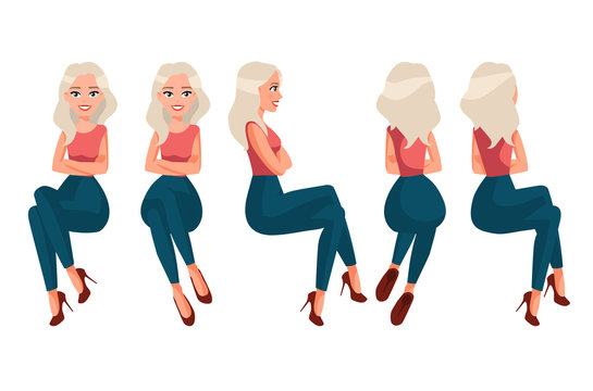Vector illustration of sitting woman in casual clothes under the white background. Cartoon realistic  people illustration.Flat young woman. Front view girl,Side view , Back side