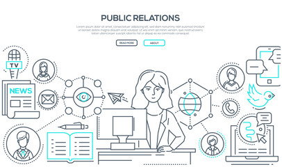 Public relations - modern colorful line design style illustration