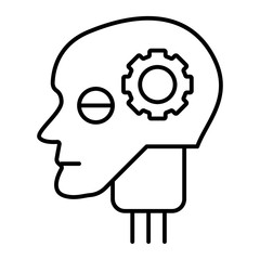 Android head with gear thin line icon. Artificial intelligence vector illustration isolated on white. Robot head outline style design, designed for web and app. Eps 10.