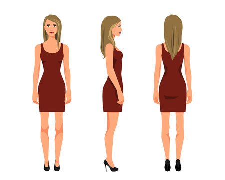 Vector illustration of three girl in red dress under the white background. Cartoon realistic  people illustration. Flat young woman. Front view girl, Side view girl, Back side view girl