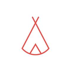 Zelt, Tipi - Piktogramm, Icon, Symbol - rot