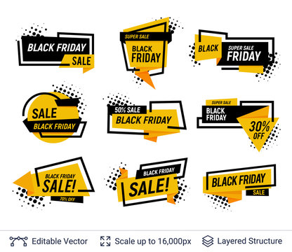 Black Friday Badges Set. Geometric shapes and text