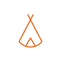 Zelt, Tipi - Piktogramm - orange