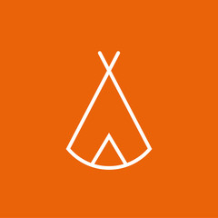 Zelt, Tipi - Piktogramm, Icon, Symbol - weiß, orange