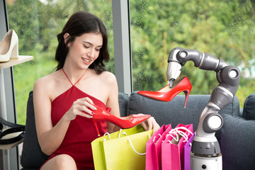 Robot assistant with happy shopping woman select high heels shoes, Smart robotic technology concept
