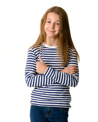 Young teen girl on white background showing thumbs up