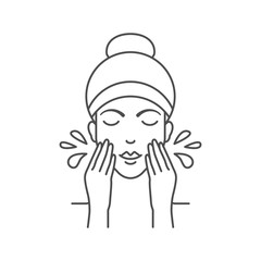 Vector illustration of woman is washing her face with water