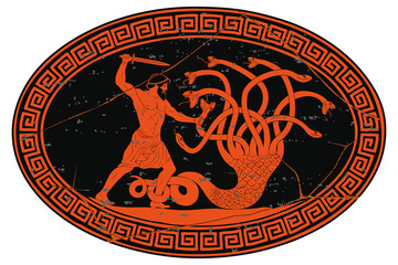 Hercules kills the Lyrna Hydra. 12 exploits of Hercules. Oval medallion isolated on a white background.