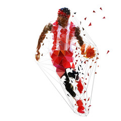 Basketball player running with ball, low polygonal vector illustration. Geometric team sport ahtlette