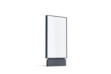 Blank white pylon mockup, side view, isolated, 3d rendering. Empty advertising billboard mock up. Clear outdoor poster template. Commercial outside baner for ad.