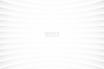 White Clear Blank Subtle Abstract Vector Geometrical Background. Monotone Light Empty Concave Surface. Minimalist Style Wallpaper. Futuristic 3D Illustration Fototapete