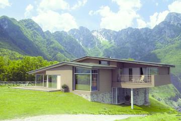 Modernes Holz Haus Berge