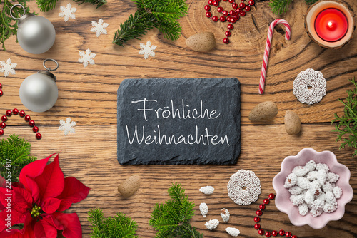 Weihnachtsdekoration und Gruß \