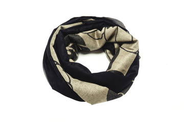gold-black women's scarf with pattern isolated on white