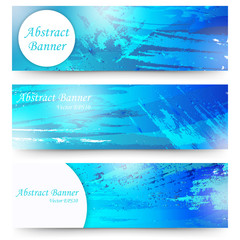 Set of blue watercolor banners. Isolated on white background.