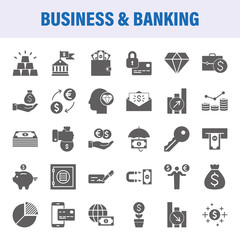 Business And Banking Set Of Vector Icons