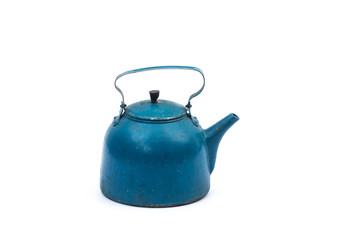 old blue cast iron kettle