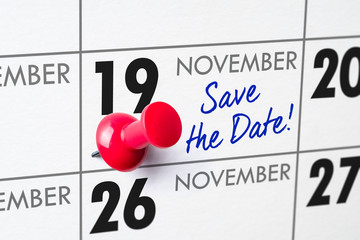 Wall calendar with a red pin - November 19