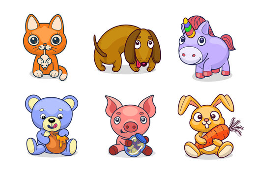 A Set Of Vector Cute Virtual Gift Toy Pets