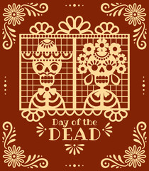 Day of the Dead papel picado. Vector illustration with traditional Mexican red and white paper cuttings of skeletons and flowers. Isolated on background.
