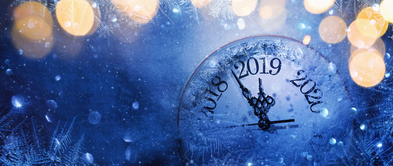 Happy New Years 2019. Winter Celebration With Dial Clock On Snow And Light