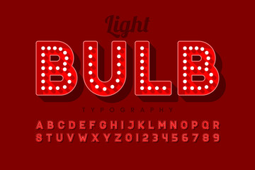 Vintage light bulb font design, Broadway style alphabet letters and numbers