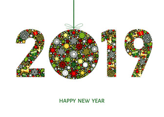 Fotomurales - 2019  Happy New Year greeting card  with Christmas  ball.
