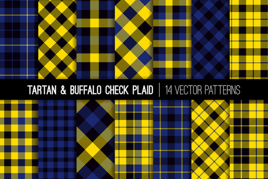 Yellow, Black and Blue Tartan and Buffalo Check Plaid Vector Patterns. Trendy 90s Style Fashion Textile Prints. Classic Scottish Checkered Fabric Textures. Pattern Tile Swatches Included.