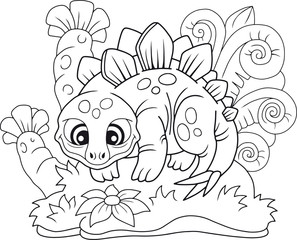 cartoon cute stegosaurus, funny illustration coloring book
