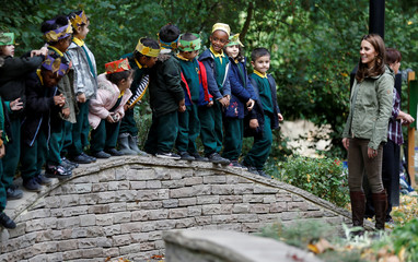 Catherine, Duchess of Cambridge says her goodbyes to children after visiting the Sayers Croft Forest School in London