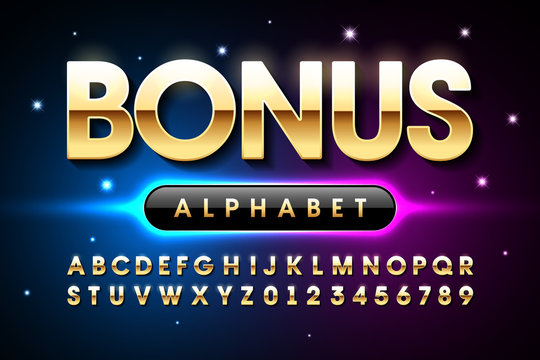 Welcome Bonus casino banner design font, alphabet letters and numbers