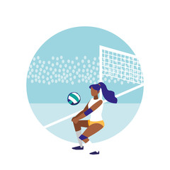young woman practicing volleyball isolated icon