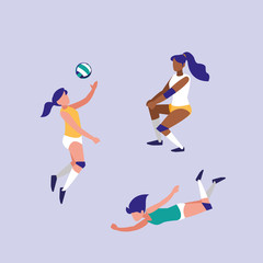 women practicing volleyball isolated icon