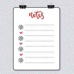 Clipboard with lined paper. Mockup Vector template. Christmas design.