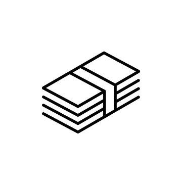 bundle of banknotes line black icon