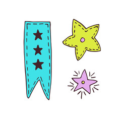 Ribbon and stars decoration. Hand drawn illustration. Sticker print design.