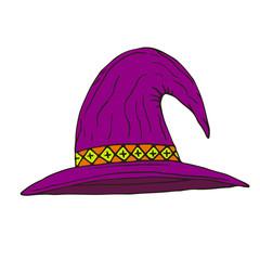 Halloween Hat. Vector icon. Hand drawn illustration. Sticker print design.