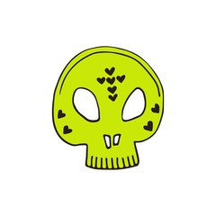 Skull Halloween icon. Hand drawn illustration. Sticker print design. Vector.