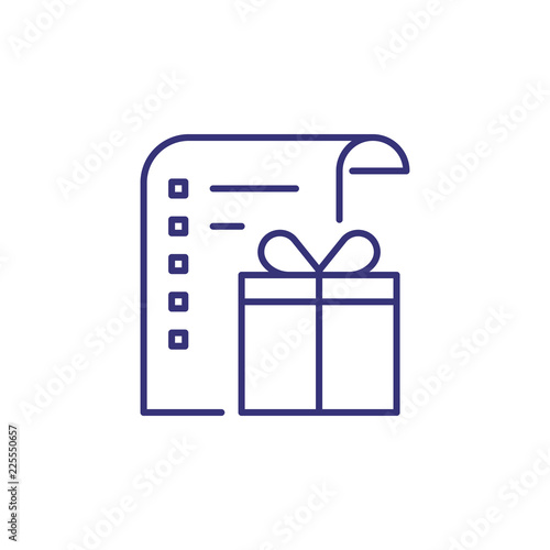 List of gifts line icon  Holiday shopping, wish list