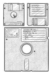 Floppy disk illustration, drawing, engraving, ink, line art, vector