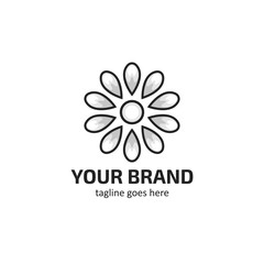 White flower petals logo icon symbol