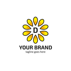 Yellow sunflower petals with letter D logo icon symbol vector