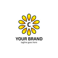 Yellow sunflower petals with letter C logo icon symbol vector