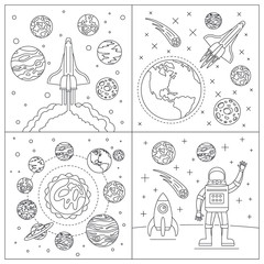 Galaxy planets banner set. Outline set of galaxy planets vector banner for web design