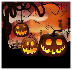 Cartoon carved pumpkins at night vector illustration. Jack o lantern hanging on tree, bats flying against full moon. Graveyard concept