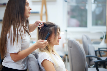Side view of hairdresser doing bouffant to  customer in beauty salon