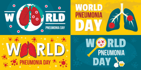 World pneumonia day banner set. Flat illustration of world pneumonia day vector banner set for web design