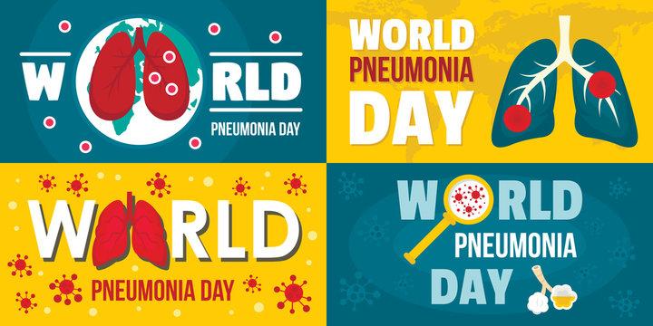 World pneumonia day banner set. Flat illustration of world pneumonia day vector banner set for web design